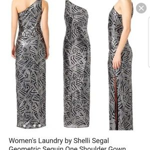 Laundry by Shelli Segal One Shoulder Sequin Gown